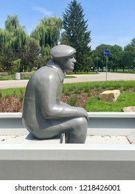 RZESZOW, POLAND - August 1, 2018: A grey statue of 'Last Krypiarz' in Rzeszow. It commemorates Stanislaw Nitka -the last person whose occupation was taking people on a boat across the Wislok river.