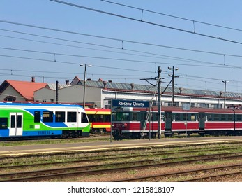 RZESZOW, POLAND - August 10, 2018: Colorful trains are standing at the Rzeszow Glowny railway station.