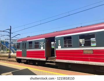 RZESZOW, POLAND - August 10, 2018: an empty train car is standing at a railway station in Rzeszow, Poland.