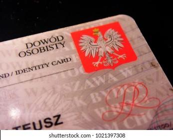 Rzeszow, Poland - February 10, 2018: Polish ID card