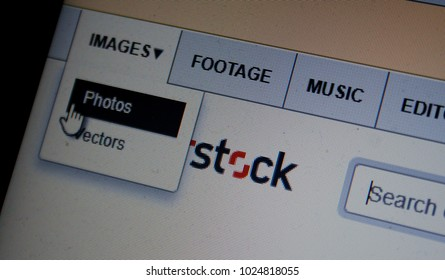 Rzeszow, Poland. February 2018: shutterstock website and its logo on the laptop screen
