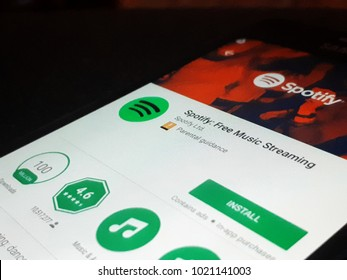 Rzeszow, Poland. February 8, 2018: Spotify application in Play Store.