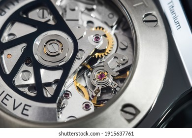 Rzeszow, Poland - February 9, 2021: The mechanism of a Hublot watch. Hublot is one of the most famous luxury watch brands in the world.