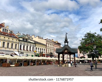RZESZOW, POLAND - July 17, 2018 : The old well in the center of the historic Town Square in Rzeszow.