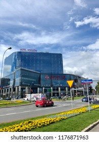 RZESZOW, POLAND - July 17, 2018: City view at the Hotel Rzeszow and Galeria Rzeszow building in the town center.