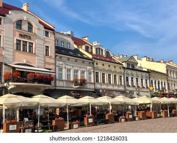 RZESZOW, POLAND - July 17, 2018: Historical buildings in the Market Square in Rzeszow.