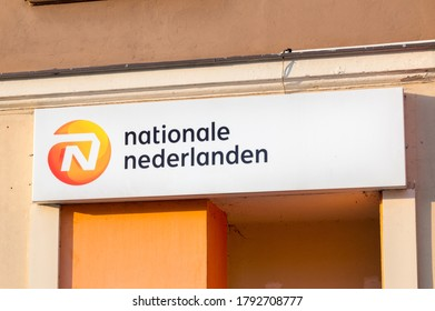 Rzeszow, Poland - June 13, 2020: Logo and sign of Nationale-Nederlanden. Nationale-Nederlanden is insurance and asset management company.