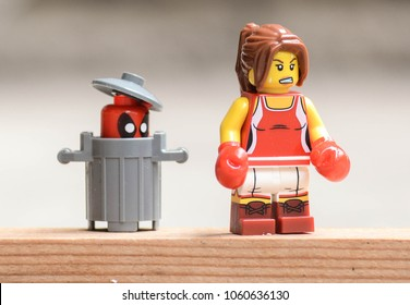 Rzeszow, Poland - October 2017 - angry lego minifigure woman look for deadpool