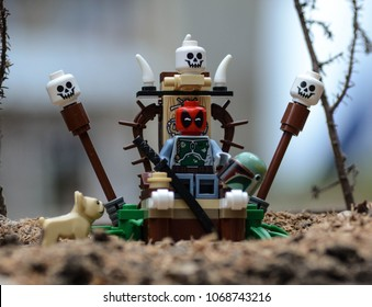 Rzeszow, Poland - October 2017 - lego minifigure deadpool on throne