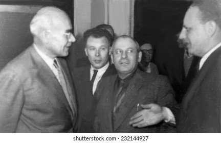 RZESZOW,POLAND - CIRCA 1957 : vintage photo of Gomulka First Sekretary of Workers' Party with other men