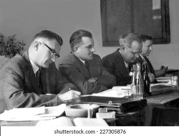 RZESZOW,POLAND - CIRCA 1958 :vintage photo of Member of Parliament P.Jaroszewicz visiting Rzeszow during socialist regime in Poland