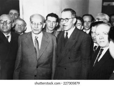 RZESZOW,POLAND - CIRCA 1958 : vintage photo of First Sekretary of P.U.W.P. W.Gomulka visiting Rzeszow during socialist regime in Poland