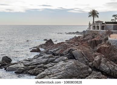 S AGARO,SPAIN-FEBRUARY 4,2013:Mediterranean coast in Costa Brava, S Agaro, Catalonia,Spain.