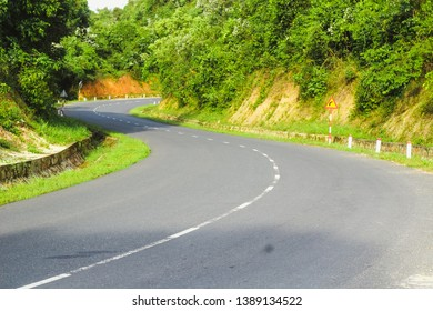 S curve on a mountain road at Binh Thuan, Vietnam.