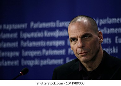 Greeceâ s former finance minister Yanis Varoufakis holds press conference to announce filing a vital Freedom of Information request to the ECB in Brussels, Belgium on Mar. 8, 2017