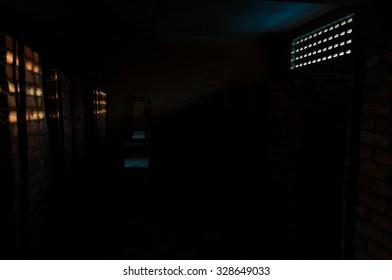 S21 Tuol Sleng dark classroom in Phnom Penh, Cambodia