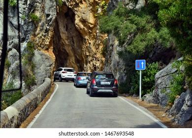 Sa Calobra, Mallorca, Spain - August 30, 2018: View od the tunnel in snake road in Sa Calobra