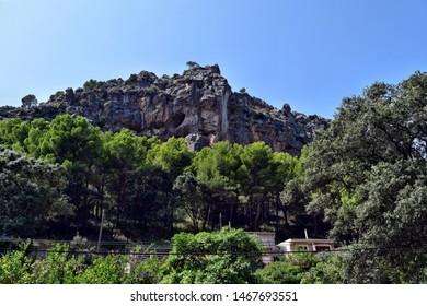 Sa Calobra, Mallorca, Spain - August 30, 2018: A view of the mountain on the way to Sa Calobra