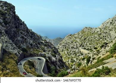 Sa Calobra, Mallorca, Spain - August 30, 2018: View od the snake road in Sa Calobra