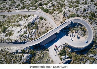 Sa Calobra road - Carretera de Sa Calobra in Mallorca Island, Spain. This road is one of the most scenic and dangerous road in the world.