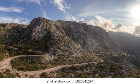 Sa Calobra Road leading to harbour and Torrent De Pareis, Tramuntana, Mallorca, Spain.