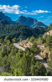 Sa Calobra Road, one of the most scenic and spectacular roads in the world, famous for its snake-like shape including turns of up to 360 degrees. Majorca (Mallorca), Baleraic Islands, Spain
