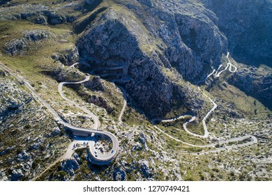 Sa Calobra Road, one of the most scenic and spectacular roads in the world, Mallorca island, Spain