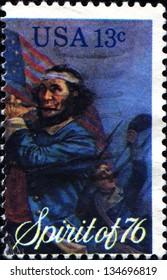 SA - CIRCA 1976: A  stamp printed in United States of America dedicated bicentennial, Spirit of 76, circa 1976