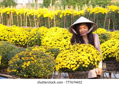 Sa Dec Flower Village , Sa Dec town, Dong Thap province, Vietnam - February 07, 2015: Asian girl with traditional conical hat in yellow daisy country farm