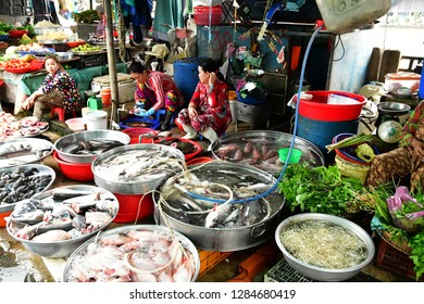 Sa Dec; Socialist Republic of Vietnam - august 18 2018 : seafood at the picturesque daily market