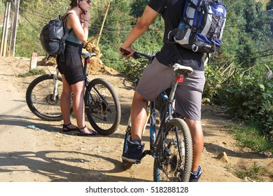 Sa Pa, Lao Cai province, Vietnam - September 27, 2016 : the foreign tourists in Sapa enjoyed cycling on the rugged mountain pass road. this is the favorite sport of them