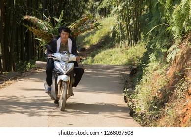 Sa Pa, Lao Cai, Vietnam - 11/26/2018: Farmer from a village near Sa Pa transporting his elephant grass to Sa Pa with a scooter.