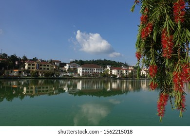 Sa Pa, Lao Cai/ Vietnam - 10 06 2019: Panorama of the city near Lake Sa Pa. Sunny day at Sa Pa by the lake