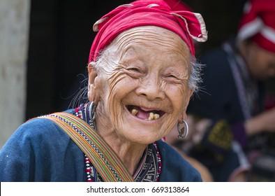 SA PA, LAO CAI, VIETNAM, 17 May 2017 Smiles, old people (unknown name) Dao people, high mountain Sa Pa, Vietnam