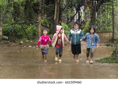 Sa Pa town , Lao Cai Province, Vietnam - May 19, 2017: Ethnic minority, Hmong children playing in tradition village at Sapa town, Vietnam