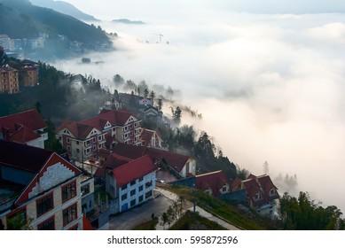 SA PA, VIET NAM, March 7, 2017 landscape, Sa Pa town, in the fog. Sa Pa Mountain, Vietnam