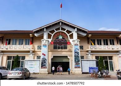 Sa Pa Vietnam 18th May, 2019: Entrance to Sa Pa Market, with a clear blue sky