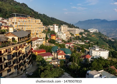 Sa Pa Vietnam: May 18th 2019: Mountain view of hotels, in the tourist town of Sa Pa, Vietnam