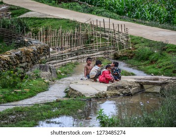 Sa Pa, Vietnam - May 31, 2016. Children playing at the village in Sa Pa, Vietnam. Sa Pa is a mountain town in Lao Cai, northwestern Vietnam.