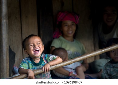 Sa Pa, Vietnam – September 11, 2014 : Smile of happy family during the trip Hanoi to Sa Pa Travel destination Northern Vietnam