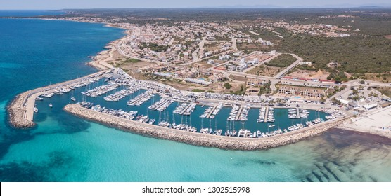 Sa Rapita, Mallorca Spain. Amazing drone aerial landscape of the port