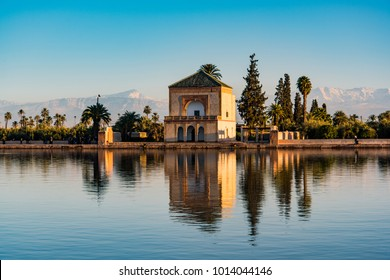 Saadian pavilion,Menara gardens and Atlas in Marrakech, Morocco, Africa.