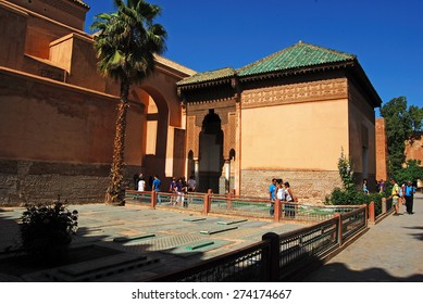 The Saadian Tombs, MARRAKECH, MOROCCO - April 13, 2015:  dating back from the time of sultan Ahmad al Mansur were discovered and restored in 1917