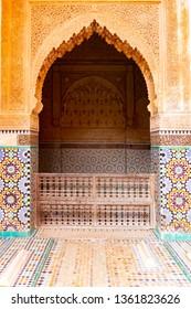 Saadian tombs of marrakech, morocco. Mausoleum of saadian tombs at Marrakech old Medina city, Morocco, Africa
