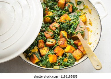 Saag paneer. Spinach with indian cheese