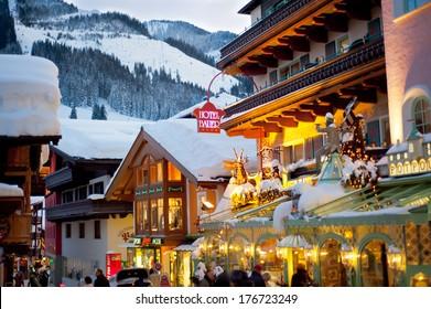 SAALBACH, AUSTRIA - JANUARY 14, 2012 : Apres ski in Saalbach Austria on January 14, 2012.  Saalbach- Hinterglem ski resort is very close to Salzburg.