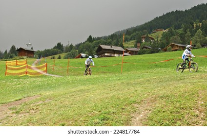 SAALBACH- HINTERGLEMM, AUSTRIA - JULY 15, 2014. The Milka Line in Saalbach ,a ride track for the whole family ,on the Kohlmais Mountains.