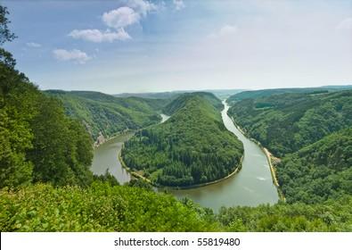 The Saar river bending by Cloef, Germany
