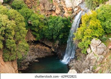 Saar river waterfall, Golan Heights, North Israel