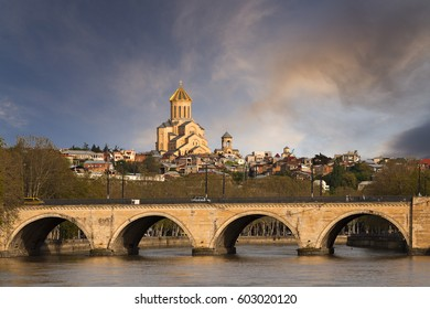 Saarbrucken Bridge with the Sameba Cathedral in the background, Tbilisi, Georgia
